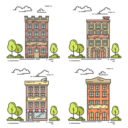 housing estate: City landscape with houses, trees and clouds. Vector set. Flat line art style. Concept for building, housing, real estate market, architecture design, property investment flyer, banner, card.
