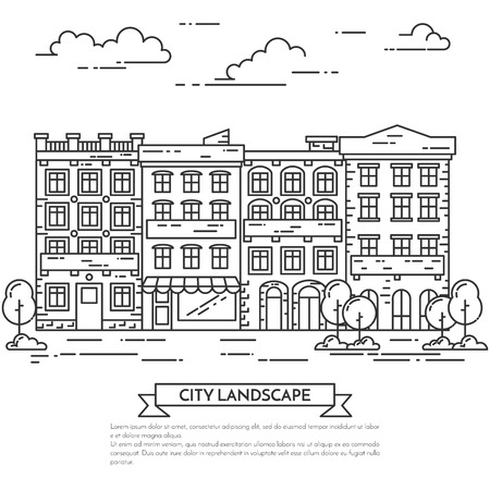 landlord: City landscape with houses, trees and clouds. Vector illustration. Flat line art style. Concept for building, housing, real estate market, architecture design, property investment flyer, banner, card. Illustration
