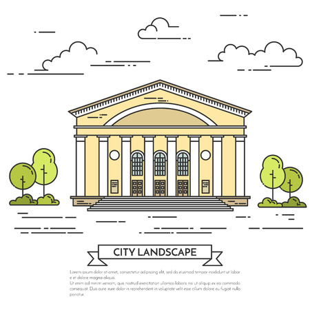 housing estate: City landscape with theater, cinema or government house. Vector. Flat line art style. Concept for building, housing, real estate market, architecture design, property investment flyer, banner, card. Illustration