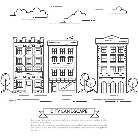 housing estate: City landscape with houses, trees and clouds. Vector illustration. Flat line art style. Concept for building, housing, real estate market, architecture design, property investment flyer, banner, card. Illustration