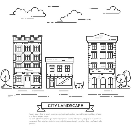 housing estate: City landscape with houses, cafe, trees.Vector illustration. Flat line art style. Concept for building, housing real estate market, architecture design, property investment flyer, banner or card.
