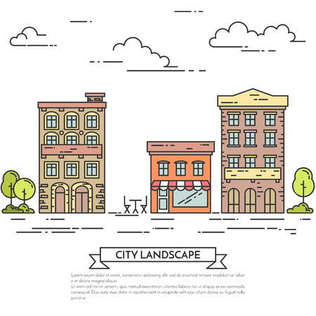 housing style: City landscape with houses, cafe, trees.Vector illustration. Flat line art style. Concept for building, housing real estate market, architecture design, property investment flyer, banner or card.