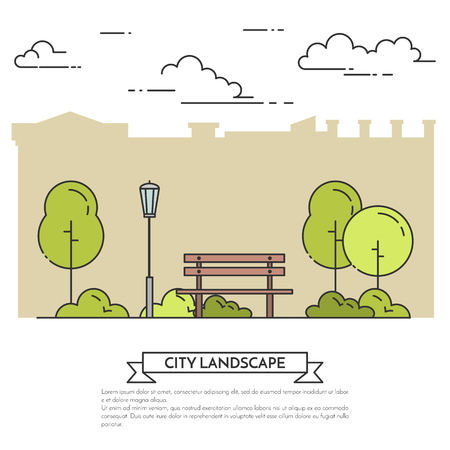 City landscape with bench in central park. Vector illustration. Flat line art style. Concept for building, housing, real estate market, architecture design, property investment flyer, banner, card.