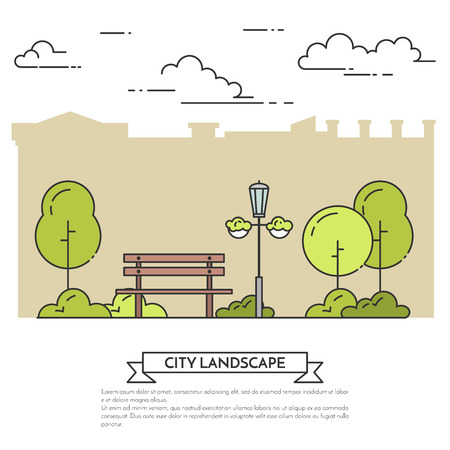 housing style: City landscape with bench in central park. Vector illustration. Flat line art style. Concept for building, housing, real estate market, architecture design, property investment flyer, banner, card.