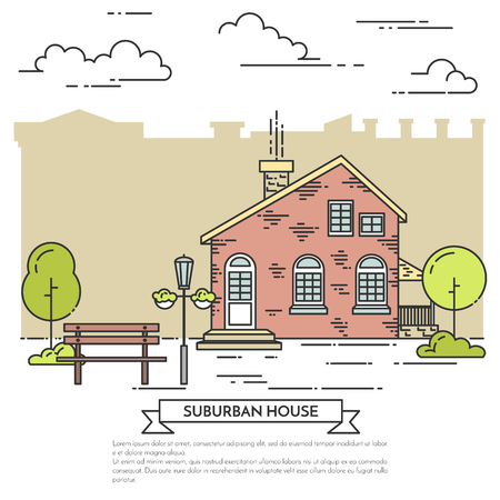 Suburb landscape with house, trees and bench. Vector illustration. Flat line art style. Concept for building, housing, real estate market, architecture design, property investment flyer, banner, card. 일러스트