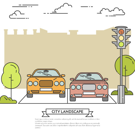 showroom: City landscape with modern cars on the road near traffic light. Vector illustration. Flat line art style. Concept for car showroom, seller, parking, property investment flyer, banner, card.