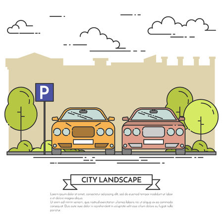 showroom: City landscape with modern cars parking near city street with green trees. Vector illustration. Flat line art style. Concept for car showroom, seller, parking, property investment flyer, banner, card. Illustration