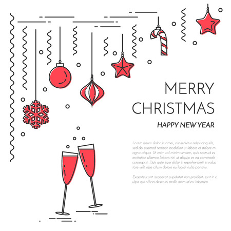christmas and new year horizontal banner with champagne decorations flat line art style vector