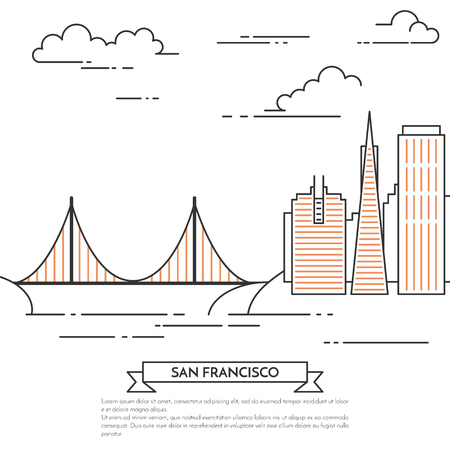 San Francisco banner. City landscape with famous bridge Golden Gate,downtown. Vector illustration. Line art. For real estate market, architecture design, property investment,travel agency card, banner