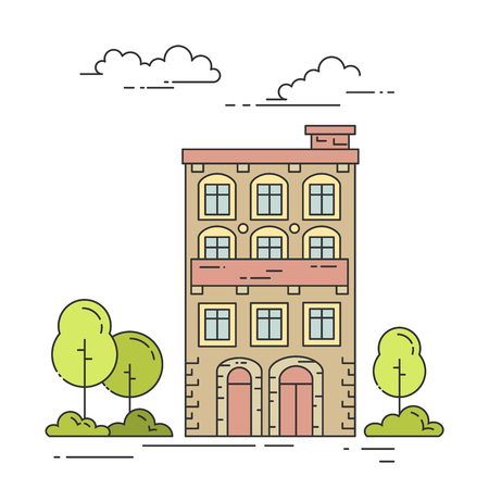 yard sale: City landscape with house, trees and clouds. Vector illustration. Flat line art style. Concept for building, housing, real estate market, architecture design, property investment flyer, banner, card. Illustration