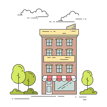 housing estate: City landscape with house, trees and clouds. Vector illustration. Flat line art style. Concept for building, housing, real estate market, architecture design, property investment flyer, banner, card. Illustration