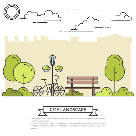 housing estate: City landscape with bench, bicycle in central park. Vector illustration. Flat line art. Concept for building, housing, real estate market, architecture design, property investment flyer, banner, card.