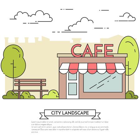 housing estate: City landscape with bench, cafe in central park. Vector illustration. Flat line art. Concept for building, housing, real estate market, architecture design, property investment flyer, banner, card. Illustration