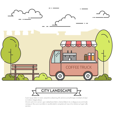 landscape architecture: City landscape with bench, coffee truck in central park. Vector illustration. Line art. Concept for building, housing, real estate market, architecture design, property investment flyer, banner, card.