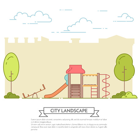 housing estate: City landscape with playground in central park. Vector illustration. Flat line art. Concept for building,housing, real estate market, architecture design, property investment flyer, banner, card.