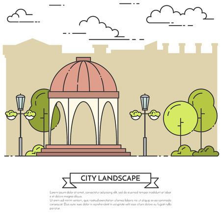 yard sale: City landscape with gazebo, lamps in central park. Vector illustration. Flat line art. Concept for building,housing, real estate market, architecture design, property investment flyer, banner, card.