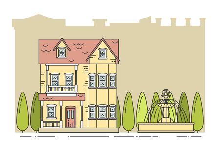 Arbres Fontaine Sur La Ville De Fond Vector Illustration Art Ligne Flat Concept Pour Construction Et Le Logement Carte Visite