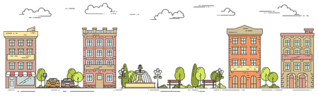 housing estate: City landscape with houses, park, car parking. Vector illustration. Flat line art. Concept for building, housing, real estate market, architecture design, property investment flyer, banner or card