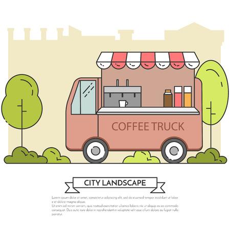 landscape architecture: City landscape with coffee truck in central publuc park. Vector illustration. Line art. Concept for building, housing, real estate market, architecture design, property investment flyer, banner, card.