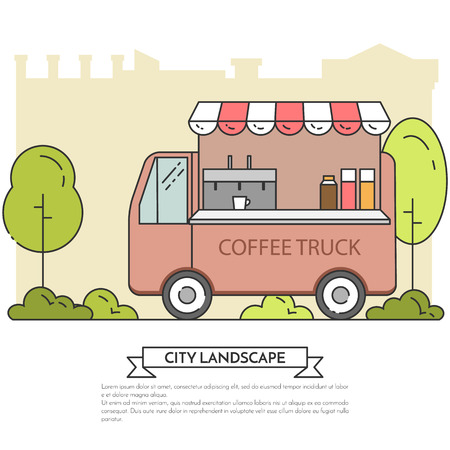 City landscape with coffee truck in central publuc park. Vector illustration. Line art. Concept for building, housing, real estate market, architecture design, property investment flyer, banner, card.