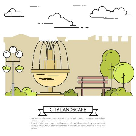 housing estate: City landscape with bench, fountain in public park. Vector illustration. Flat line art. Concept for building, housing, real estate market, architecture design, property investment flyer, banner, card.