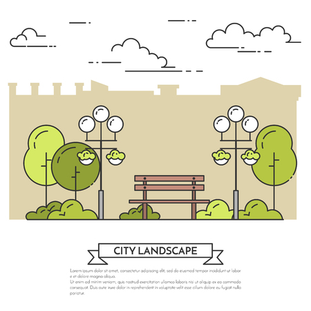 landscape architecture: City landscape with bench, lamps in public park. Vector illustration. Flat line art. Concept for building, housing, real estate market, architecture design, property investment flyer, banner, card.
