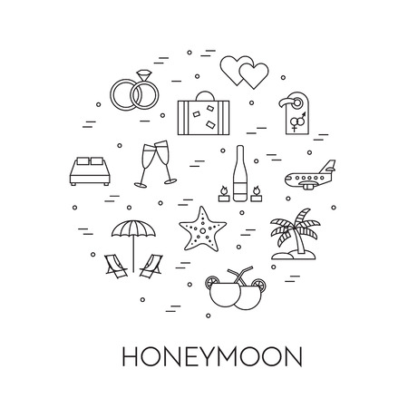 Horizontal banner with honeymoon symbols, wedding trip pictograms in circle, Modern line art elements. Vector illustration. Concept for congratulation card, flyer, web pictogram, just married gift