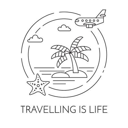 Bandera horizontal que viaja con la palma en la isla, el aeroplano y las estrellas de mar en círculo. Elementos de arte de línea plana. Vector illustration.Concept para viaje, turismo, agencia de viajes, hoteles, tarjeta de recreación.
