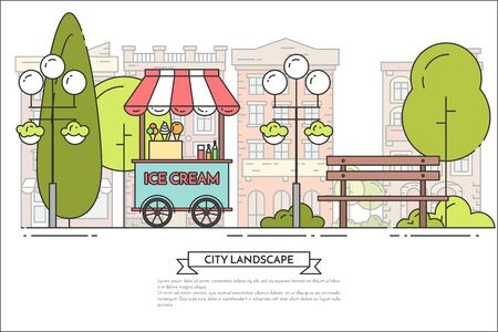 housing estate: City landscape with bench, ice cream track in public park. Vector line illustration. Concept for building, housing, real estate market, architecture design, property investment flyer, banner, card.