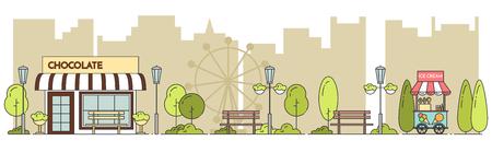 housing estate: Horizontal city landscape with central public park. Vector illustration. Flat line art. Concept for building, housing, real estate market, architecture design, property investment flyer, banner, card.