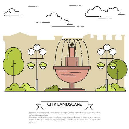 housing estate: City landscape with fountain, trees in public park. Vector illustration. Flat line art. Concept for building, housing, real estate market, architecture design, property investment flyer, banner, card. Illustration
