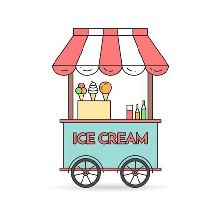 carretto gelati: Ice cream carrello su ruote. Dolce chiosco alimenti surgelati. Illustrazione vettoriale. disegni al tratto piano. Elementi per la costruzione, l'alloggio, mercato immobiliare, progettazione dell'architettura, flyer investimenti immobiliari, banner, carta