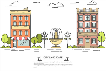 landscape architecture: City landscape with houses, central public park. Vector illustration. Flat line art. Concept for building, housing, real estate market, architecture design, property investment flyer, banner, card Illustration