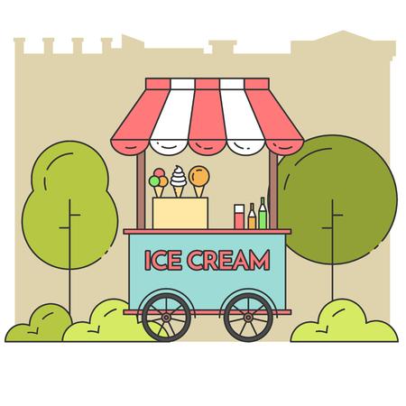 frozen food: Ice cream cart on wheels. Sweet frozen food kiosk in public park . Vector illustration. Flat line art. Elements for building, housing, real estate market, architecture design, shop, cafe banner, card
