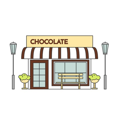 housing estate: Chocolate cafe with lamps, flowers and bench. Vector illustration. Line art. Elements for building, housing, real estate market, architecture design, property investment flyer, banner, card