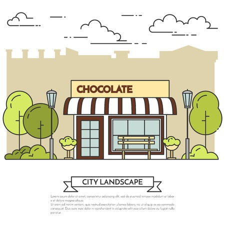 housing market: Chocolate cafe with lamps, bench in public park. Vector illustration. Line art. Elements for building, housing, real estate market, architecture design, property investment, cafe flyer, banner, card Illustration