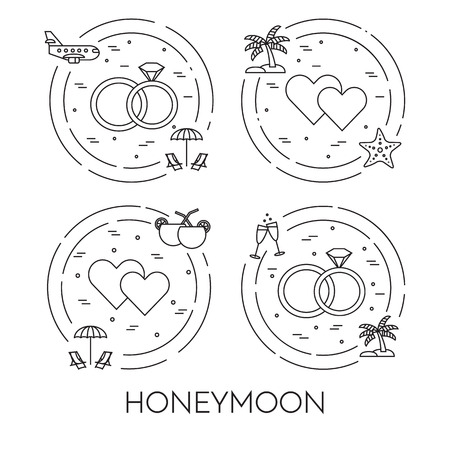 wedding  art: Set of honeymoon banners with wedding elements in circle. Romantic trip. Modern flat line art elements. Vector illustration. Concept for congratulation card, flyer, web pictogram, just married gift Illustration