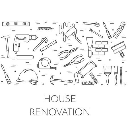 Huis verbouwen horizontale banner. Element voor huis reparatie, de bouw of renovatie bedrijf. Pictogrammen van verschillende gebouw gereedschappen en materialen voor banner, kaart, flyer. Vector illustratie. lijnstijl