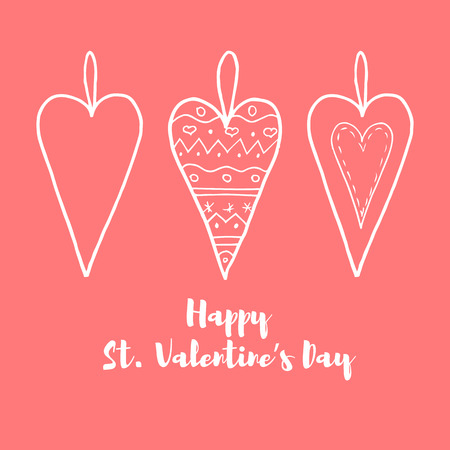 Hand Drawn Horizontal Banner For Saint Valentine\'s Day And Love ...
