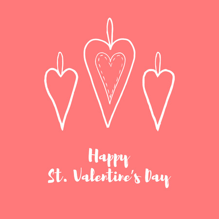 Hand drawn horizontal banner for Saint Valentines day and love theme. Elements for greeting card, banner, flyer. Pictograms of love for website, banner, infographic, marketing. Vector illustration