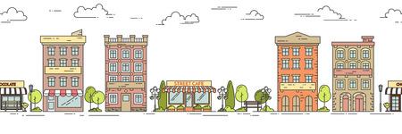 landscape architecture: City landscape horizontal seamless pattern with houses, park, cafe. Linear vector illustration. For building, housing, real estate market, architecture design, property investment flyer, banner, card Illustration