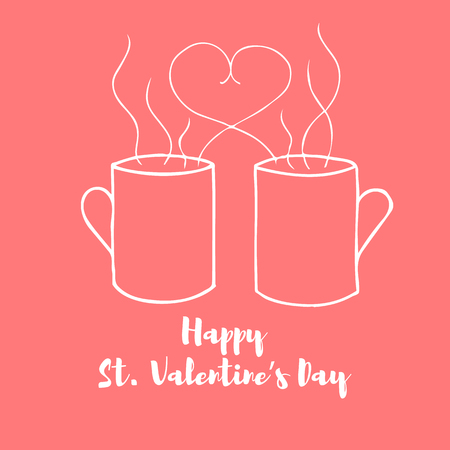 hand drawn horizontal banner for saint valentines day and love theme elements for greeting card