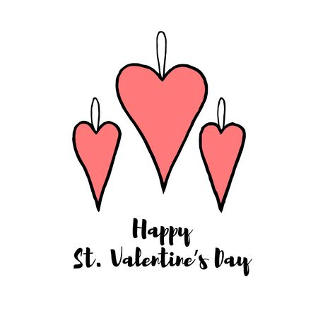 greet card: Hand drawn horizontal banner for Saint Valentines day and love theme. Elements for greeting card, banner, flyer. Pictograms of love for website, banner, infographic, marketing. Vector illustration