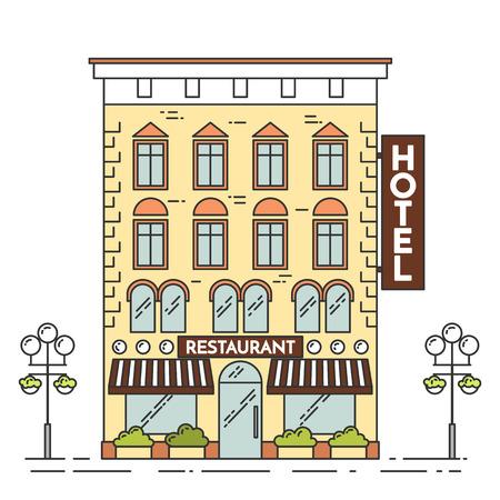 landscape architecture: City landscape with hotel, lamps, flowers. Vector illustration. Flat line art style. Concept for building, housing, real estate market, architecture design, property investment , banner card Illustration