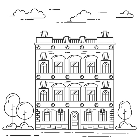 housing style: City landscape with house, trees and clouds. Vector illustration. Flat line art style. Concept for building, housing, real estate market, architecture design, property investment  banner, card. Illustration