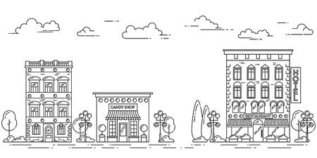 landscape architecture: City landscape with houses, cafe, trees, clouds. Vector illustration. Flat line art. Concept for building, housing, real estate market, architecture design, property investment  banner card