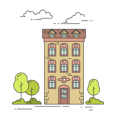 house for sale: City landscape with house, trees and clouds. Vector illustration. Flat line art style. Concept for building, housing, real estate market, architecture design, property investment banner, card.
