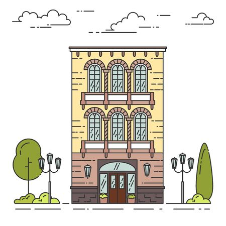 landscape architecture: City landscape with house, trees and clouds. Vector illustration. Flat line art style. Concept for building, housing, real estate market, architecture design, property investment flyer, banner, card. Illustration