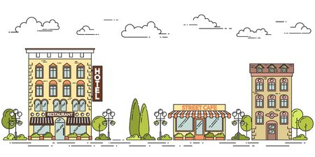 business concepts: City landscape with houses cafe trees clouds Line art