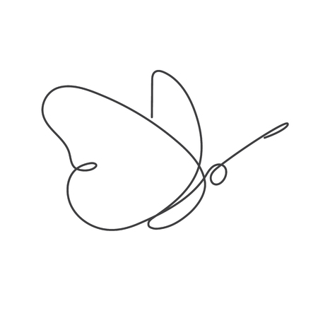Continuous line butterfly. Vector illustration. White one line drawing.
